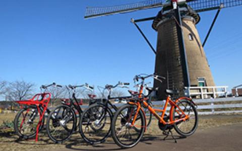 イベント期間中はふるさと広場限定でオランダの珍しい自転車もレンタルできます。